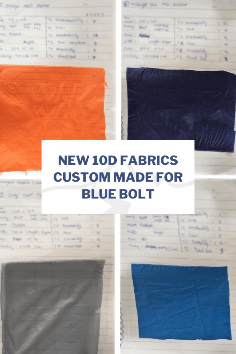 New 10D fabrics custom made for Blue Bolt